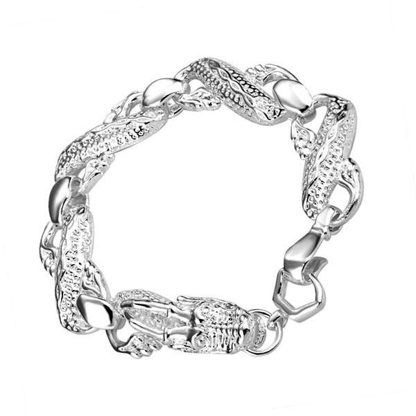 Hot Sales 925 Sterling Silver Dragon Chain Bracelets Fashion Costume Women/Men Bracelets Jewelry Free Shipping(China (Mainland))
