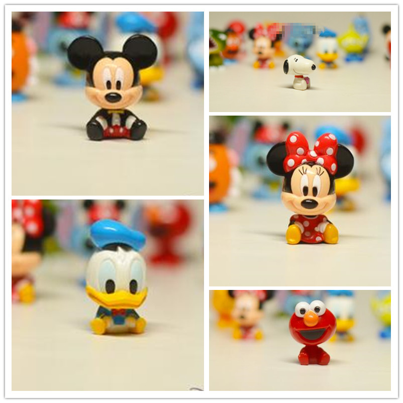 1pcs Original Mickey Minnie Mouse Donald Duck Elmo Snoopie Mini Figures Toy Model Doll for Collection Gifts 3CM(China (Mainland))
