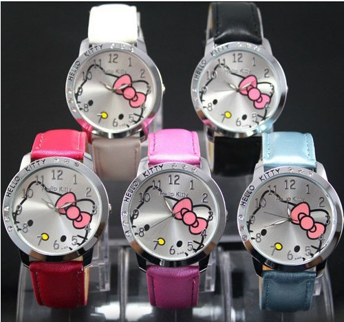2015 NEW HOT Sale LOW Price Fashion Girls Cute Cartoon Watch Hello Kitty Watches Woman Children Quartz Watch Mix Color(China (Mainland))