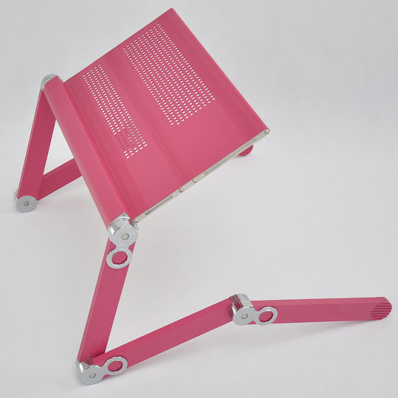 Eco-friendly Portable Folding Laptop Desk Stand with Dissipating Holes Design Pink Color(China (Mainland))
