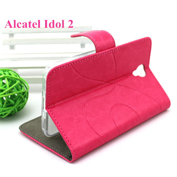 Stand Rose Leather Case Cover Alcatel One Touch Idol 2 OT 6037 6037Y 6037K +Gifts - NO.1 store