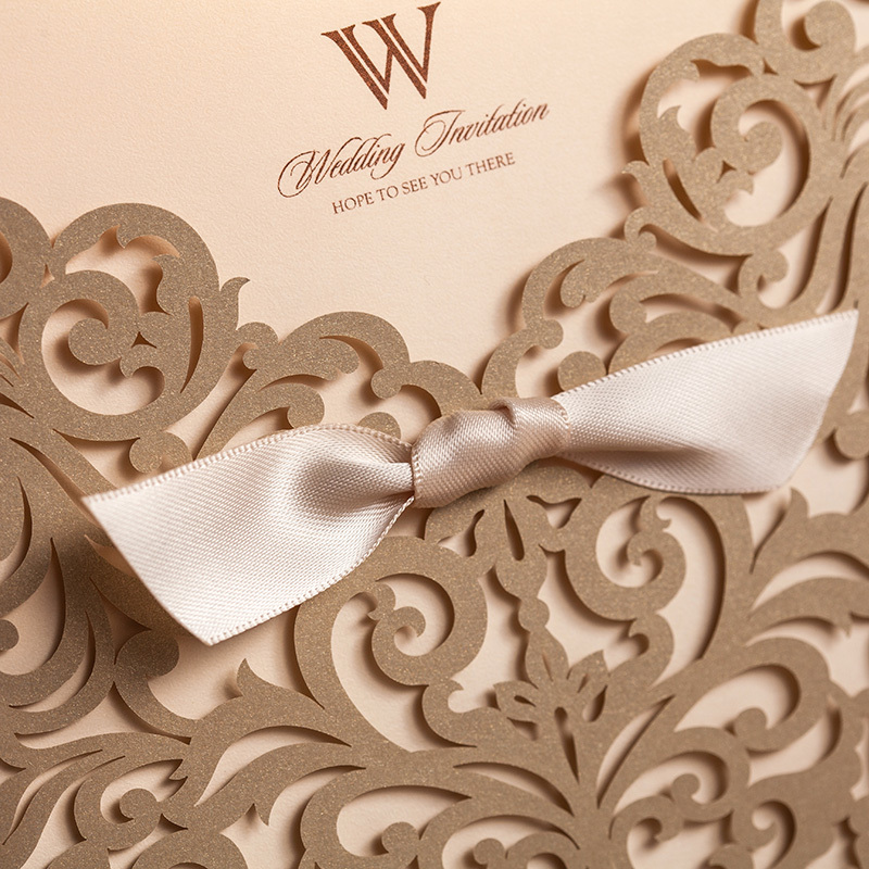 10sets Laser Cut Wedding Invitations Bow Gold Hollow Invitation Card For Party Supply free Printing