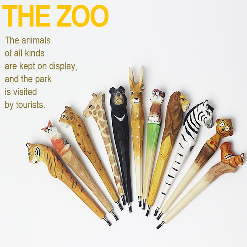 Creative gifts woodcarving animal cartoon cute ballpoint ballpoint stationery small fresh Free shipping<br><br>Aliexpress