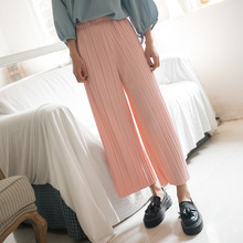 Women Wide Leg Pants Casual Boho Hippie Pleated Loose Elastic Waist Fashion Loose Capris Pants Cropped Trousers Japanese Gaucho