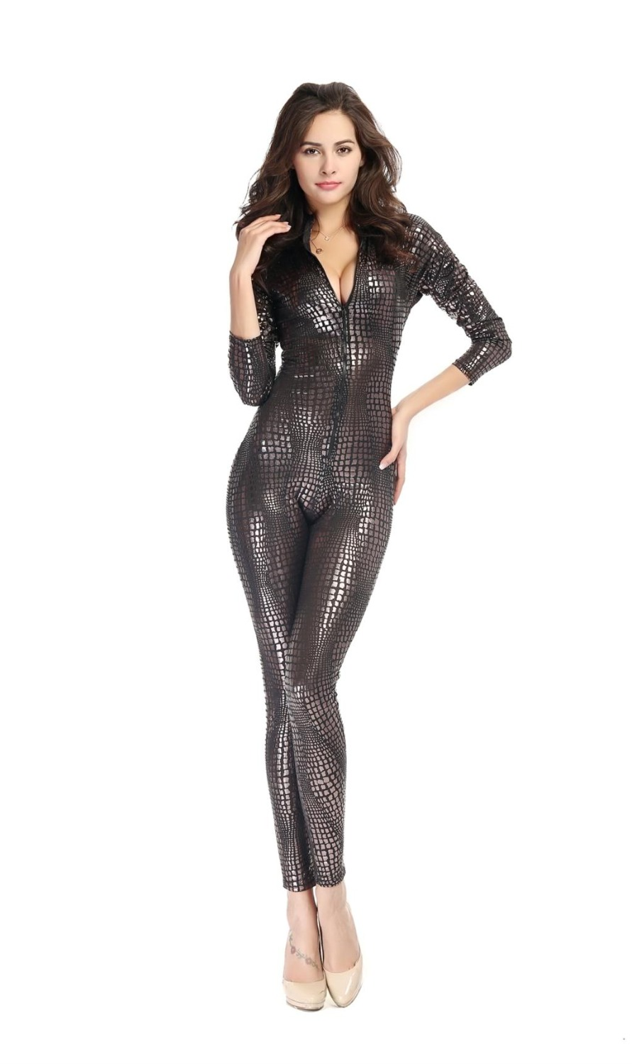 Adogirl Sexy Snakeskin Costume Jumpsuit Women New Nightclub Faux Leather Zipper V Neck Dance Disco Bar Pole Cosplays 3 Colors(China (Mainland))