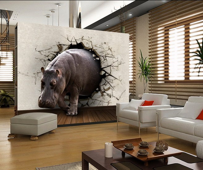 Free Shipping Eco Friendy 3d Mural Hippo Papel De Parede Background Living Ro