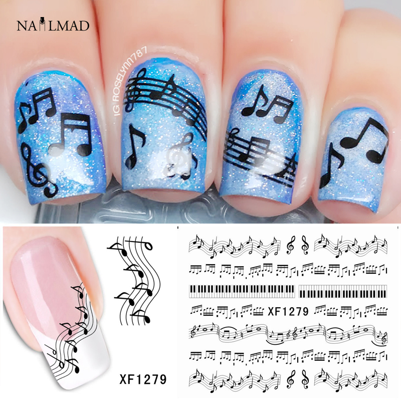 1 sheet Musical Notes Nail Water Decals Piano Keys Transfer Stickers Black Nail Art Sticker Tattoo Decals Accessories XF1279(China (Mainland))