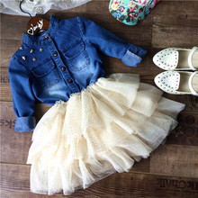 wholesale(5pcs/lot)- 2016 spring atumen demin and mesh long sleeves dress for child girl(China (Mainland))