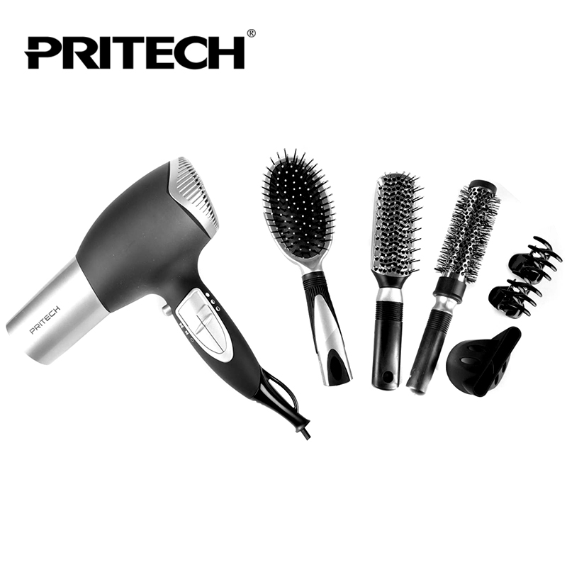 New PRITECH 7 In 1 Professional Long Life Big 2000W Motor Hair Dryer Hair Blow Dryer Sets With Brush & Comb(China (Mainland))