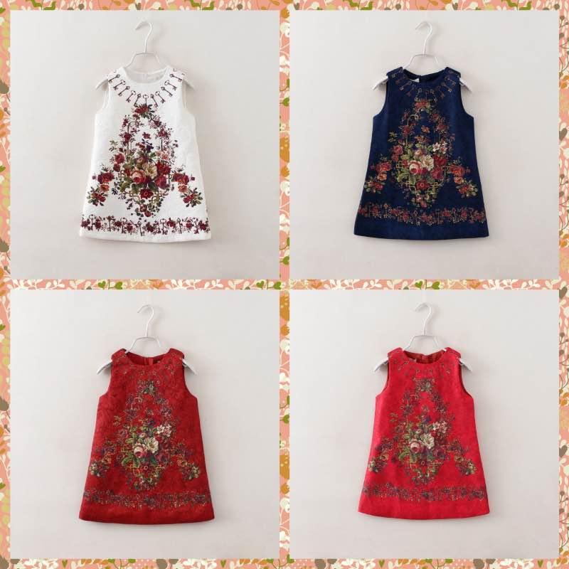 Здесь можно купить  New Fashion Princess Babies Girls Keys and Florals Print Jacquard Party Dresses Western Fashion Christmas Sleeveless Casual Bran  Детские товары