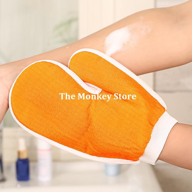 Natural Elastic Thumb Shape Bath Shower Body Massage Cleaning Towel Gloves F1661(China (Mainland))