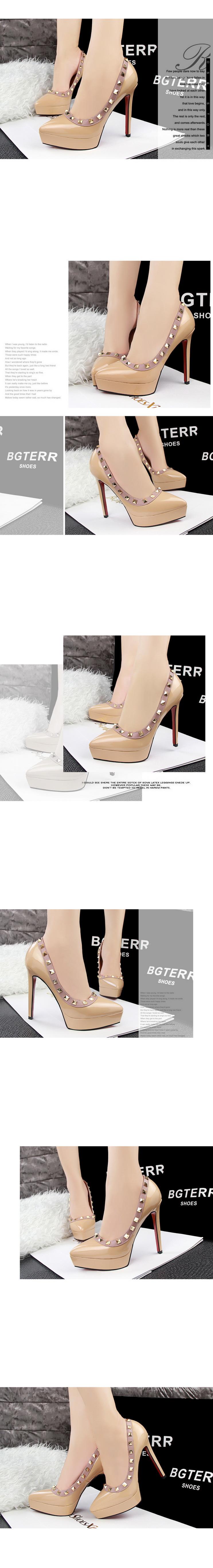 Women Platform Pumps Rivet Shoes Retro High-heel Ladies Rivets Fashion Sexy Club High Heeled Stiletto Pump Chaussure Femme