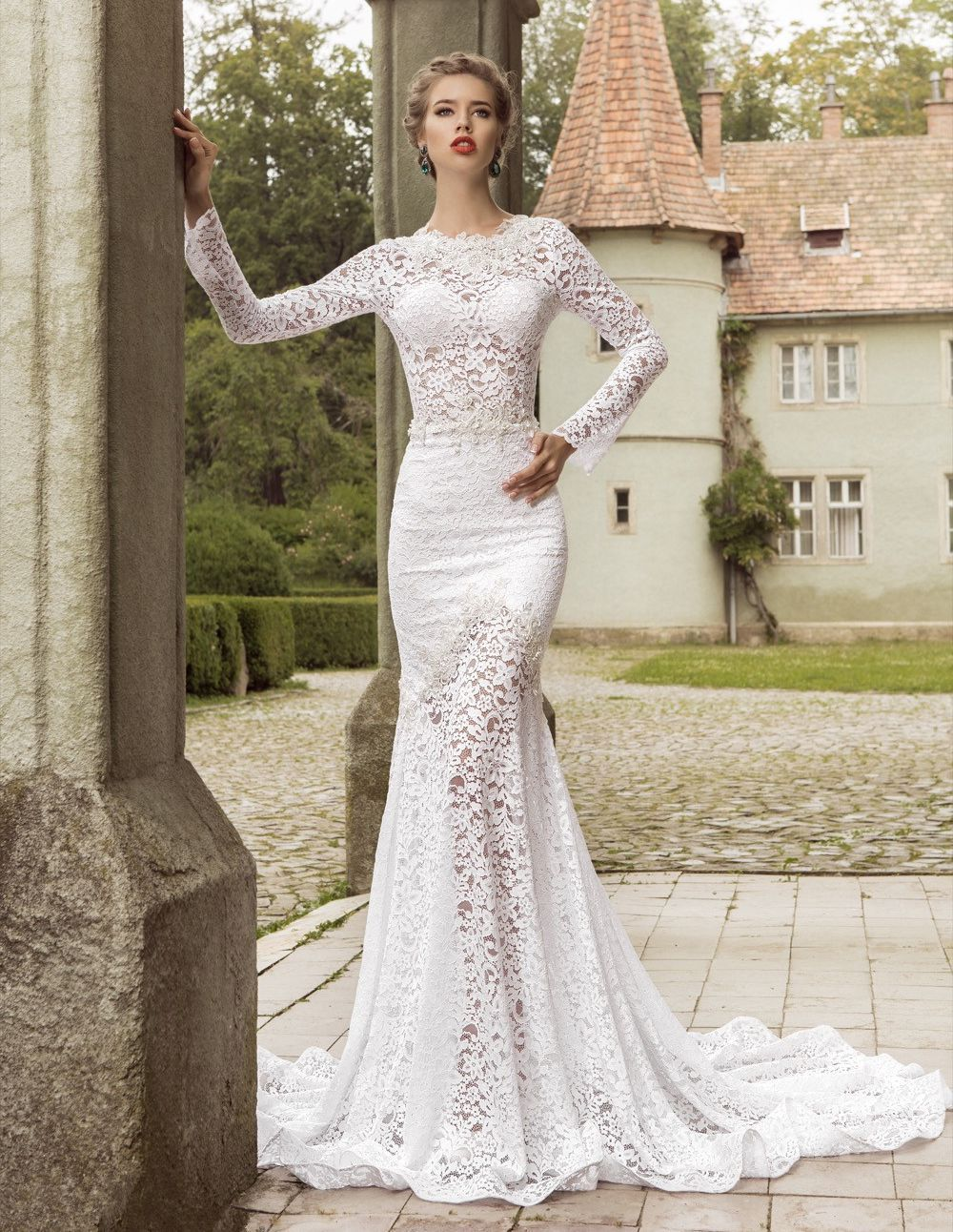 Elegant mermaid lace wedding dresses 2016 crew neck sheer for Beaded lace mermaid wedding dress