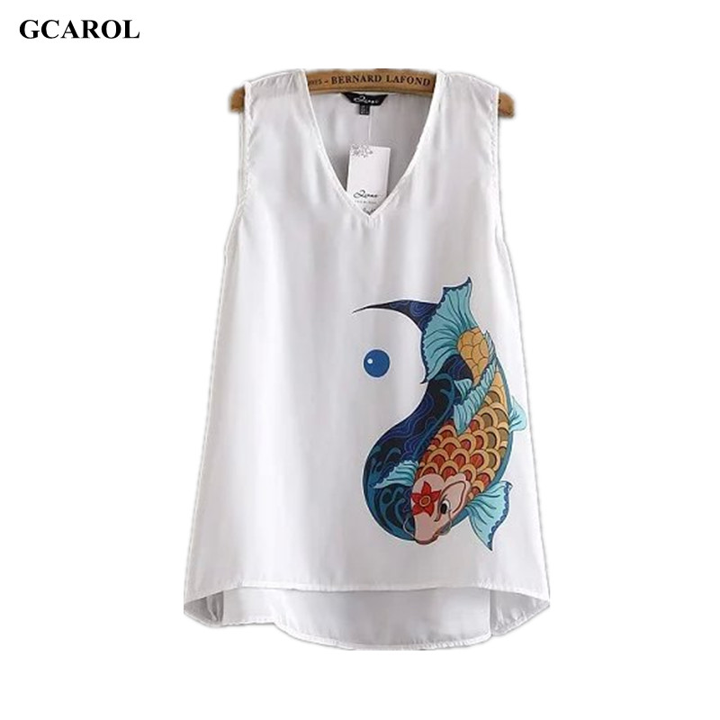 Women New Summer Goldfish Floral Vest Fashion Causal Girl's Cute Sleeveless Tops Asymmetic Length Design Vest(China (Mainland))