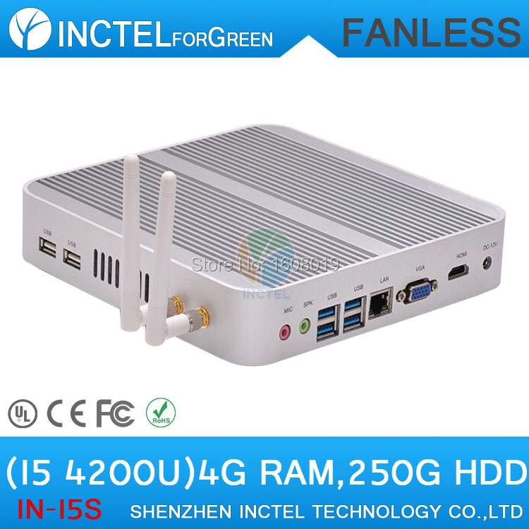 Fanless Haswell HD Tiny PC Thin Client with Intel Core i5 4200U 1.6Ghz CPU 4G RAM HDD Linux(China (Mainland))