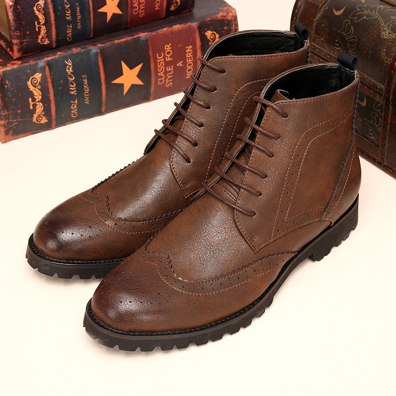 New 2015 Men Boots Casual Army Winter Ankle Brown Yellow Mens Boots Casual in Leather Mens Boots Shoes Casual Genuine Leather