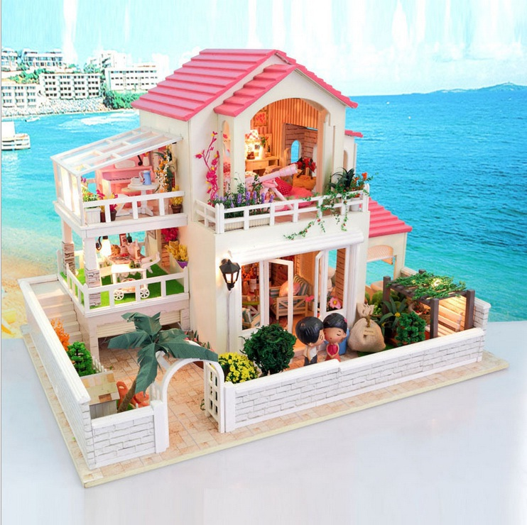 fai da te casa di bambola di legno tre piani villa rosa