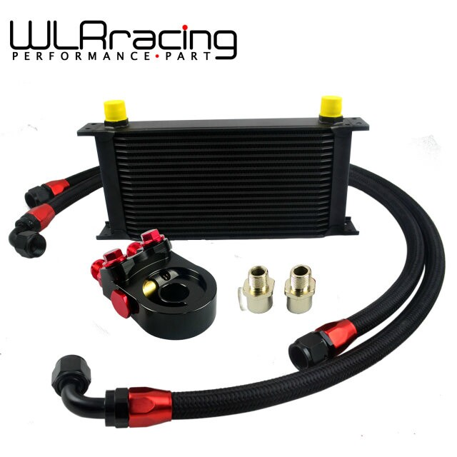 WLR Universal 19ROWS OIL COOLER ENGINE KIT AN10 oil Sandwich Plate Adapte with Thermostat 2PCS NYLON