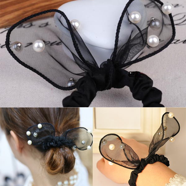 Black Fashion Lovely Pearl Rabbit Ears Headband Lace Headdress Ponytail Hair Band Scrunchie Rope GirlsОдежда и ак�е��уары<br><br><br>Aliexpress
