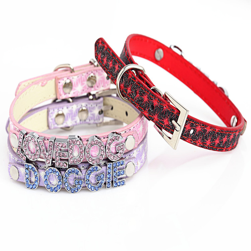 NEW Fireworks Pattern PU Leather Bling Rhinestone Personalized Dog Collar Customized Free Name with Crystal Letters or Charms(China (Mainland))