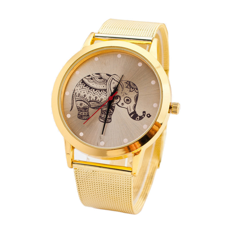 SmileOMG Hot Sale Women Classic Gold Elephant Quartz Stainless Steel Wrist Watch Free Shipping Christmas Gift,Sep 5