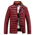 2016 New Men s Winter Jackets Men Casual Warm Parkas Male Thick PU Shiny Coats Stand