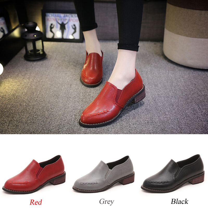 2016 spring fashion pumps women medium heel round toe thick heel casual leather preppy style pumps 3colors BEIBEI887<br><br>Aliexpress
