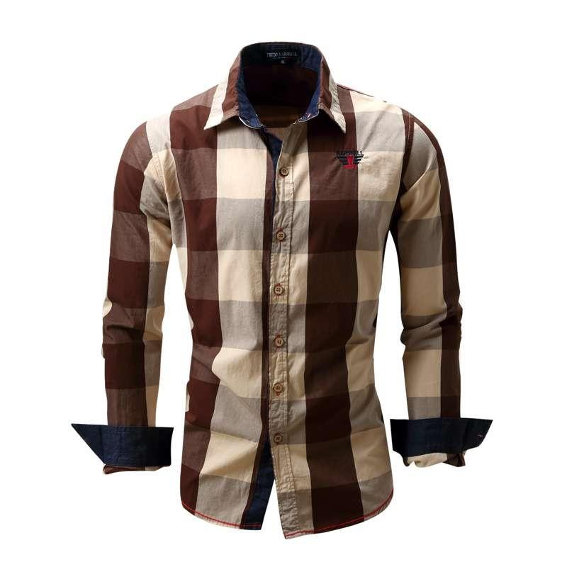 US Size Big Plaid Shirt Men\`s Long-Sleeved Shirt 100% Cotton Casual Brand Chemise Homme Fashion Business Shirts Plus Size M099 (15)