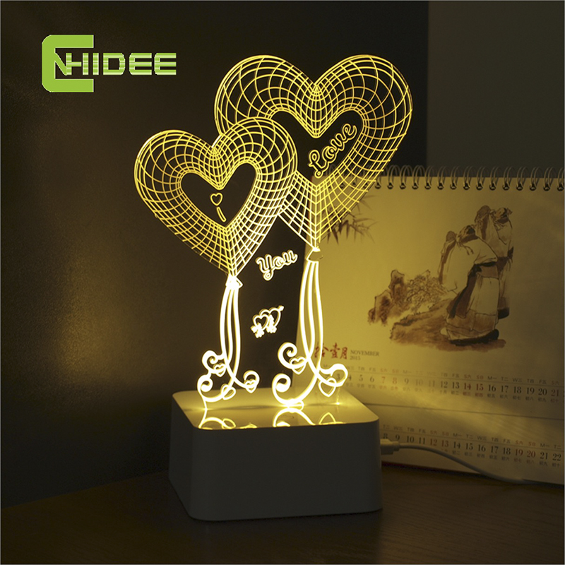 Usb lampara led lights love heart 3d touch table lamp for wedding