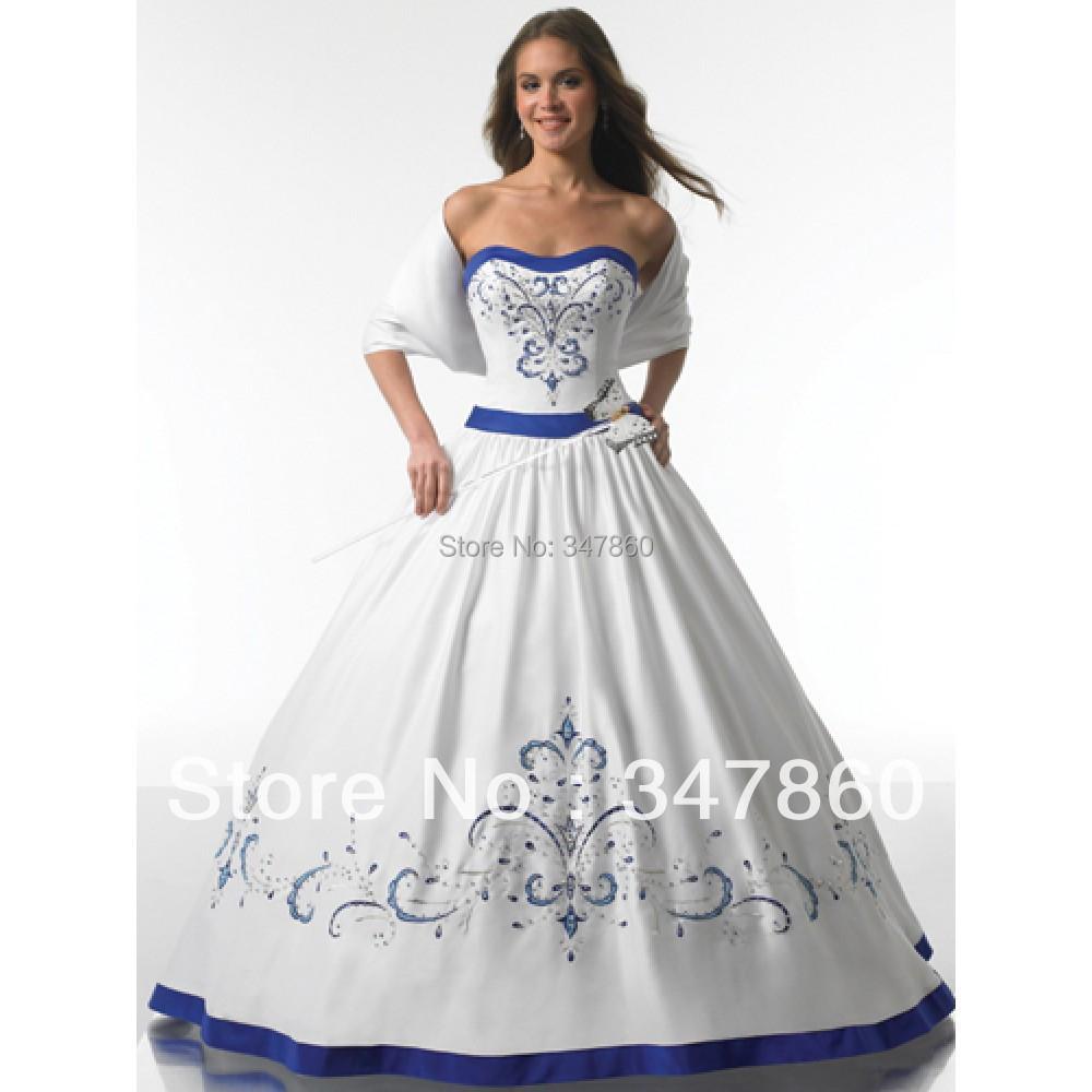 Popular Royal Blue and White Wedding Dress-Buy Cheap Royal Blue ...