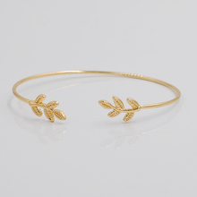 2015 New Design Leaves Gold & Silver Plated Stretch Bracelets & Bangles Thin Fashion Open Bangle(China (Mainland))