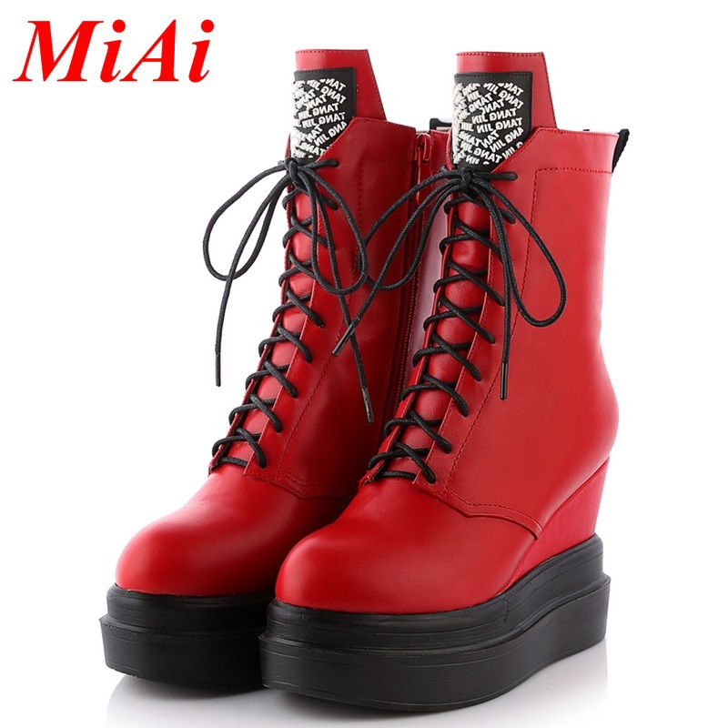 women shoes 2015 with slope black red casual shoes zip high-heeled ankle boots winter boots fashion waterproof platform 34-39<br><br>Aliexpress