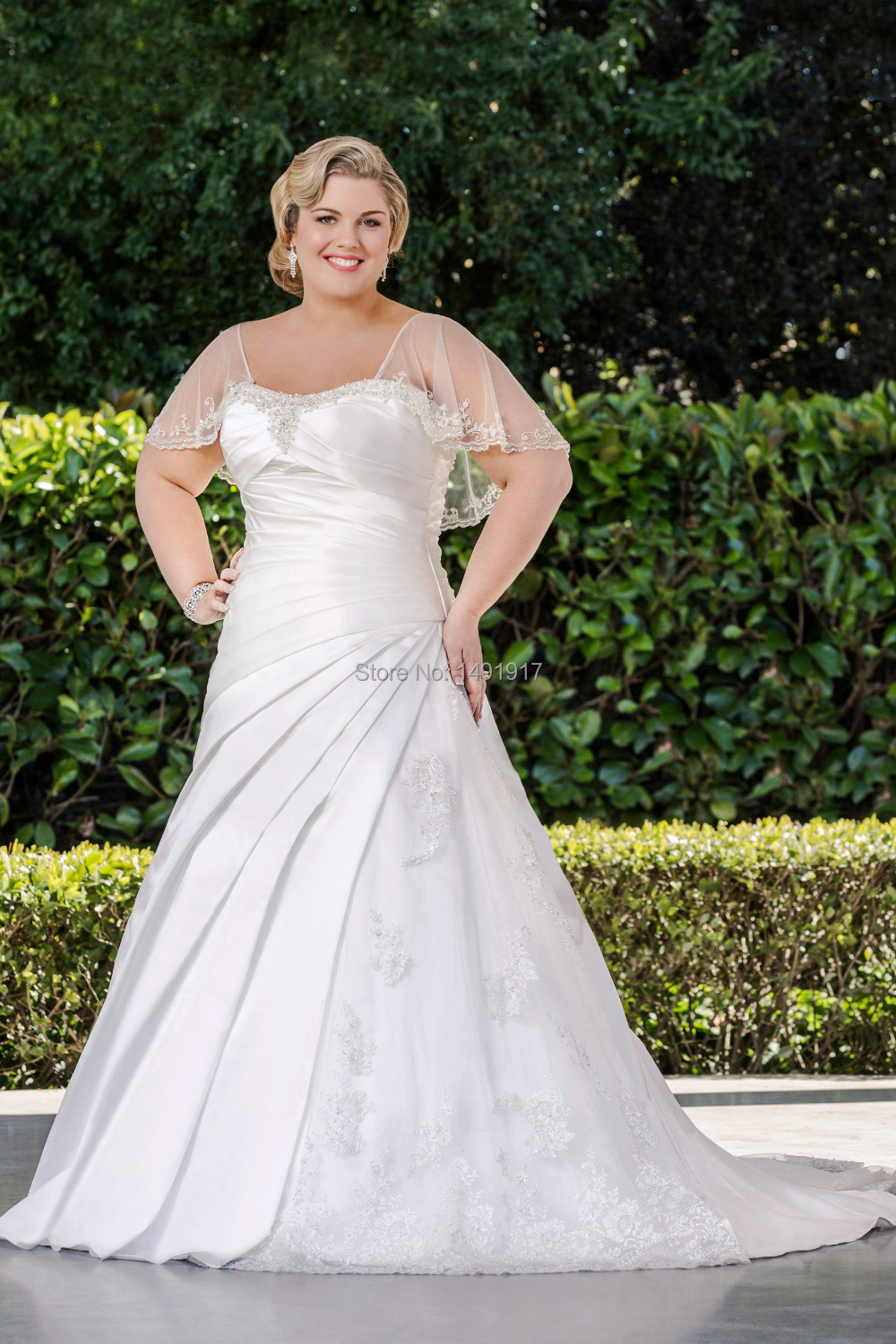 New winter style satin a line plus size wedding dresses for Plus size wedding dresses with color and sleeves