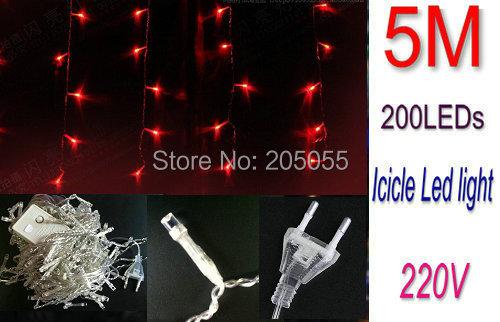 16ft 5M 200LED icicle curtain led string lights Snowing Christmas light Garden lamps for Xmas Wedding Party Decor 220V-RED(China (Mainland))