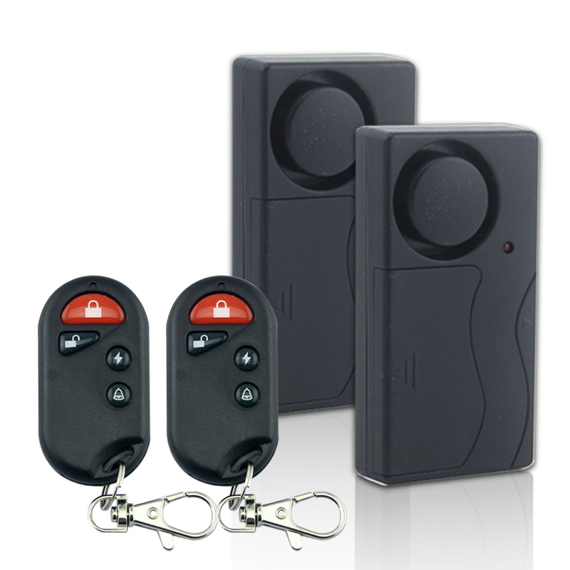 2 PCS Home Security Wireless Vibration Motorcycle Bike Door Window Detector Burglar Alarm with 2pcs remote control<br><br>Aliexpress