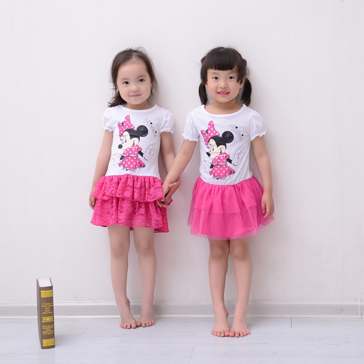2014 new summer Minnie mouse baby girls dress kids brand cotton lace tutu princess dresses whole sale<br><br>Aliexpress