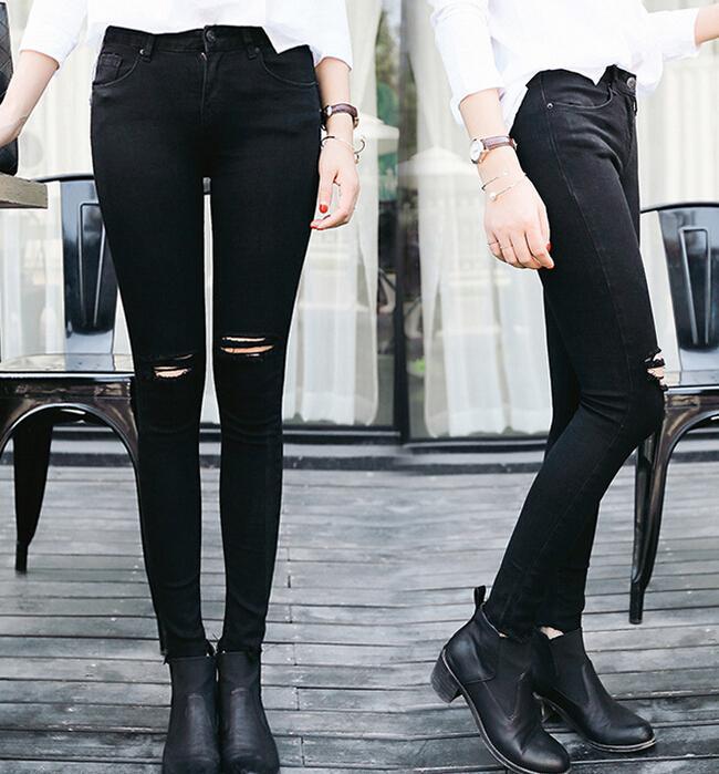2015 new summer style femmes mode casual jean slim trou ripped skinny jeans noir designer crayon. Black Bedroom Furniture Sets. Home Design Ideas