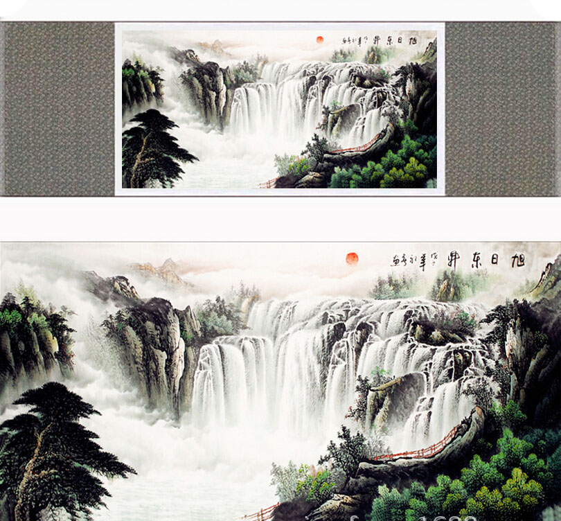 landscape art painting Mountain and River art painting top quality silk scroll painting(China (Mainland))