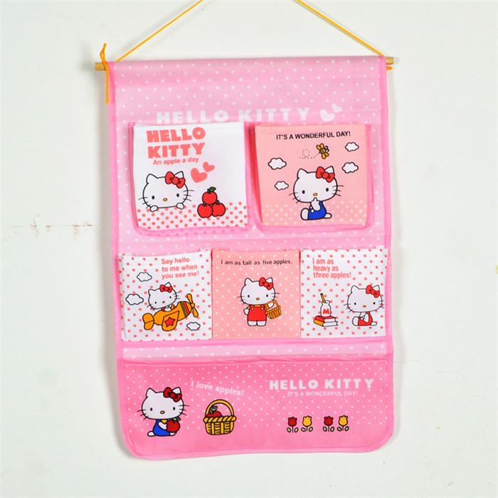 1pcs cute cartoon kawaii hello kitty womens jewelry organizer non woven fabric storage bags door hanging storage pockets(China (Mainland))