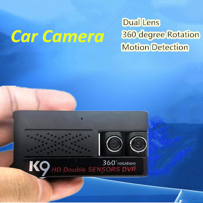 K9 HD 720P Dual Lens Car DVR Camera Mini Handheld 360 Degree Rotation Camcorder Motion Detection