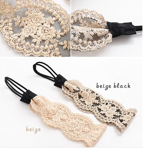 Freeshipping wholesale fashion lace flower elastic headband hairband hair accessory 12pc/lot(China (Mainland))