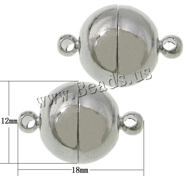 Free shipping!!!Brass Magnetic Clasp,Fashion Jewelry in Bulk, Round, platinum color plated, single-strand, nickel<br>