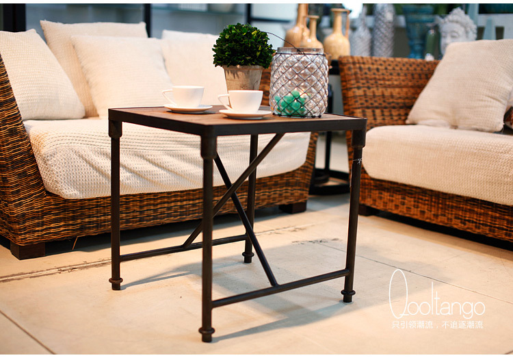 American Village industrial loft style retro imitation wood, wrought iron coffee table to do the old rust Coffee Bar coffee tabl(China (Mainland))