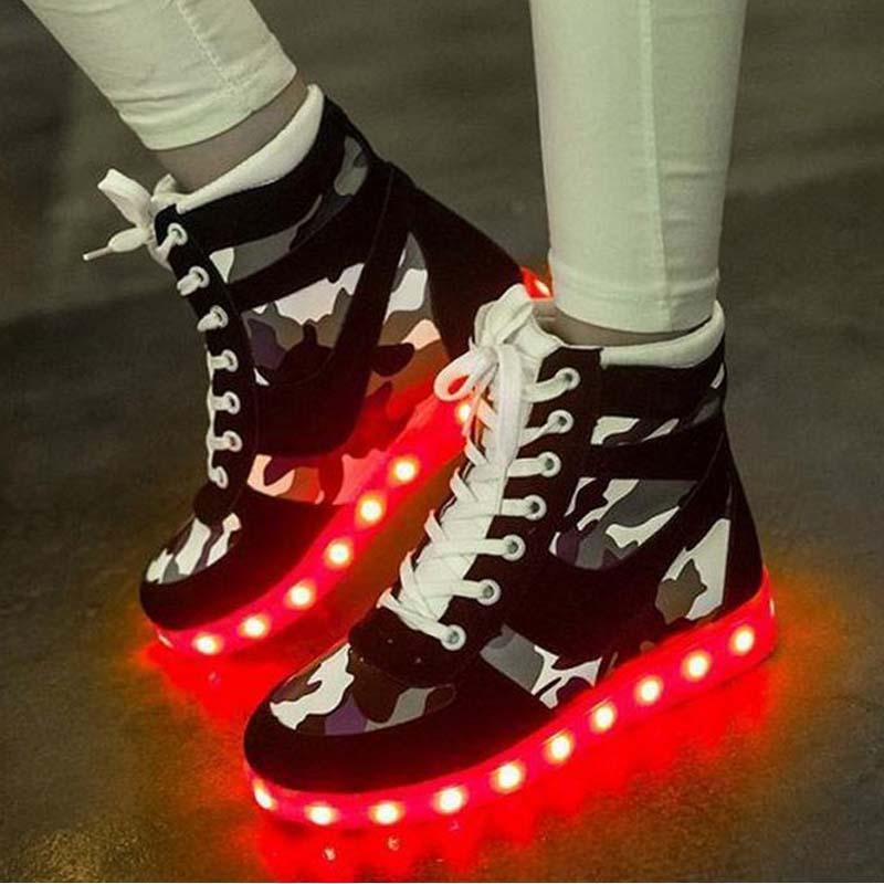 big size 35 44 high top platform led shoes for