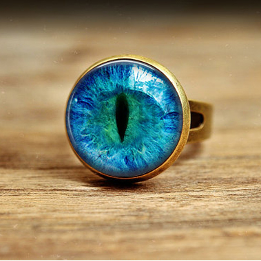 1 PC Free shipping Vintage glass Cat Eye Ring Art Picture bronze and silver Adjustable Ring Handmade Jewelry(China (Mainland))