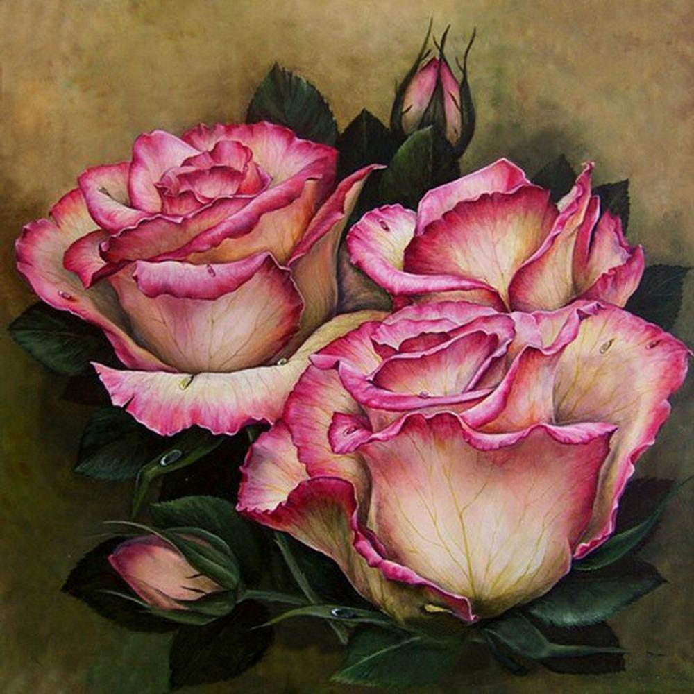 full square drill new needlework diamond handiwork diamond painting craft mosaic beautiful rose bb1245(China (Mainland))