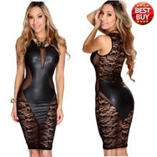Black Faux Leather Lace Transparent Bodycon Dress New Arrivals Mesh Dress Knee Length Hollow Out Sexy Club Dress 2015 TQ21643(China (Mainland))