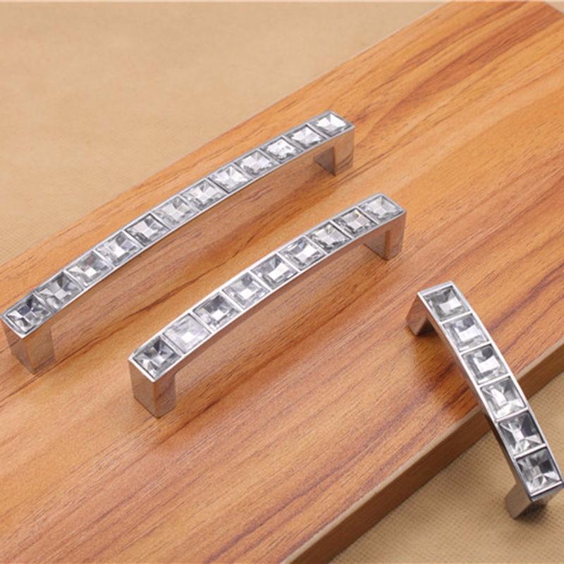 Crystal Modern Drawer Handle U-Shaped Diamond Shoe Cupboard Door Handles Beauty
