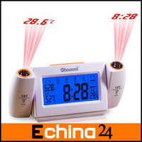 Free Shipping English Speaking 3 Color Novel Super Dimensional Sound Controlled Back Light Dual LED Projection Clock