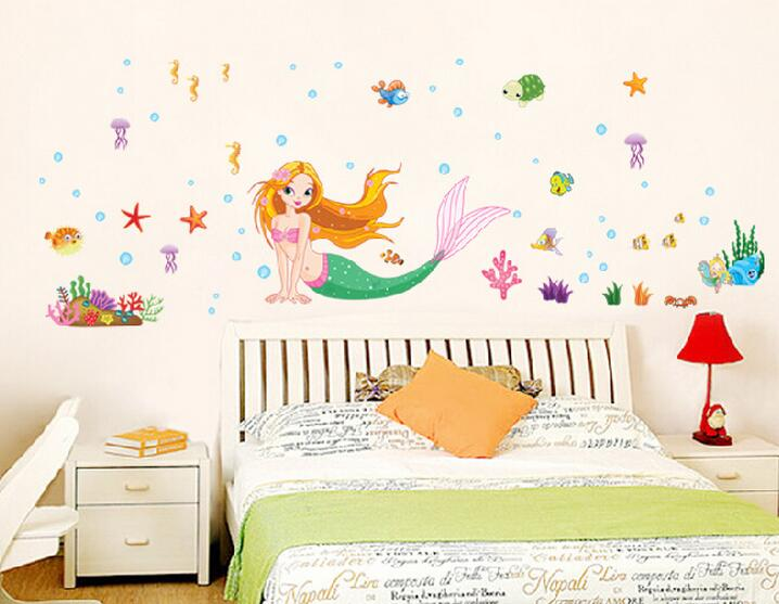 1Pcs 70*50cm Cartoon Stickers Living Room Bedroom Children's Room Home Accessories Mermaid Background Wall Stickers B241(China (Mainland))
